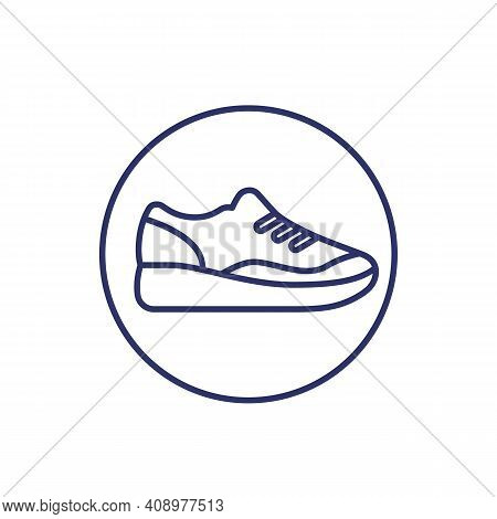 Running Shoe Icon, Trainers, Sneakers Line Vector