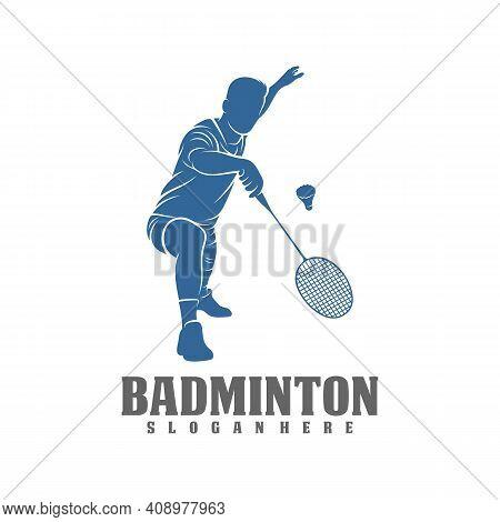 Modern Passionate Badminton Player In Action Logo, Creative Badminton Design Concepts Template, Icon