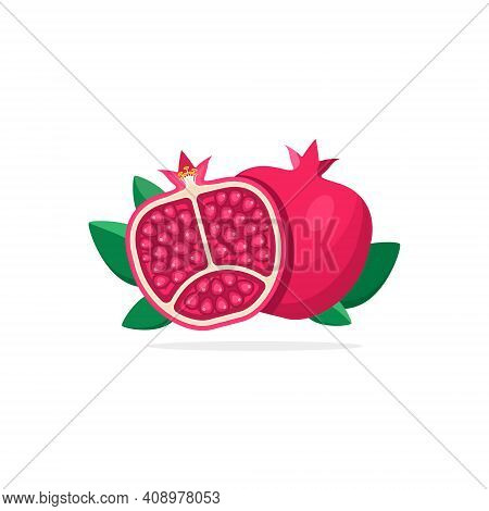 Pomegranate Isolated On White Background. Vector Pomegranate Flat Icon.