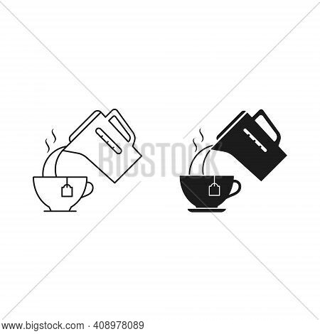 Pouring Water Into A Cup From A Kettle, Vector Icon Set. Simple Illustration. Kettle Cup Boiling Wat