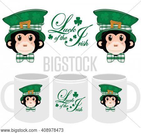 Saint Patrick's Day Template and Mockup for 11oz Mug for Print on Demand