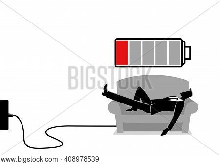 Business Illustration Of A Businessman Taking A Nap On Sofa. Laying, Relaxing, Recharge, Resting Con