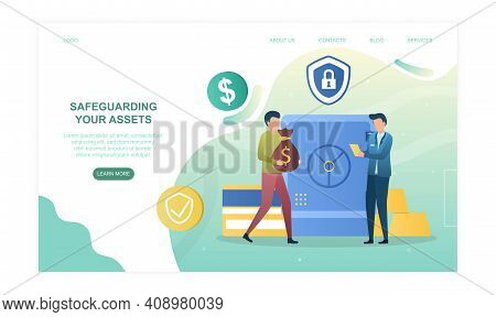 Male Character Is Safeguarding His Assets In Bank. Concept Of Investing To Banking System With Good