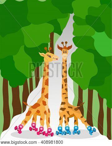 Funny Cartoon Roller-skating Giraffes In The Park. Children Illustration Animals Go In For Sports. C