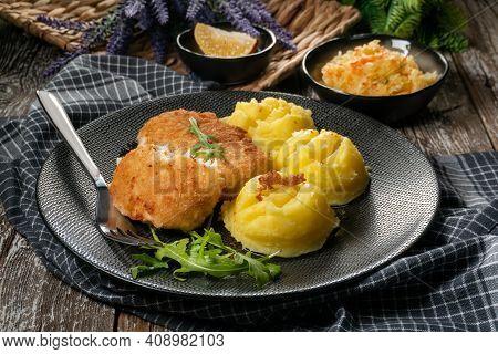 Fried Cod Fillet Served.