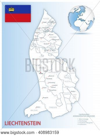 Detailed Liechtenstein Administrative Map With Country Flag And Location On A Blue Globe.