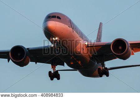 Vienna, Austria - July 7, 2018: Qatar Airways Boeing 787-8 Dreamliner A7-bcd Passenger Plane Arrival