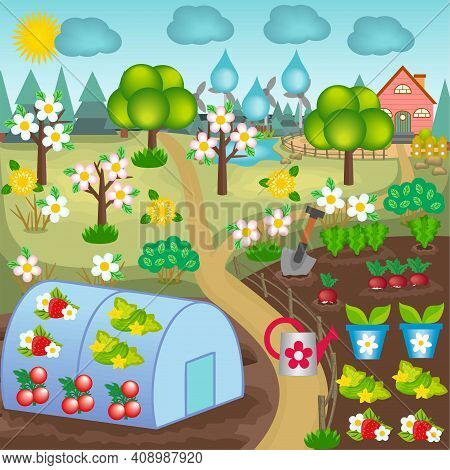 Spring  Vector Landscape Of The Garden With Flowering Trees, Greenhouse, Sprouts And Early Vegetable