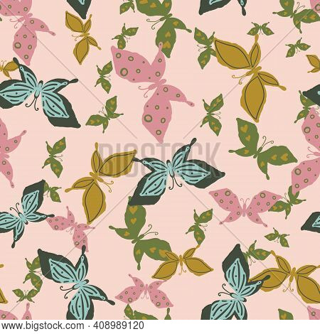 Flock Of Butterflies Seamless Vector Pattern. Girly Surface Print Design For Fabrics, Stationery, Sc