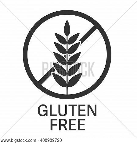 Gluten Free Symbol Or Label With Wheat Ear Vector Illustration