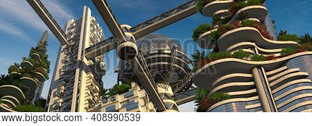 Futuristic Green City 3d Rendering From An Upward Angle, With Building Terraces Covered In Vegetatio