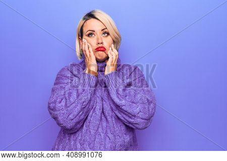 Beautiful blonde plus size woman wearing casual turtleneck sweater over purple background Tired hands covering face, depression and sadness, upset and irritated for problem