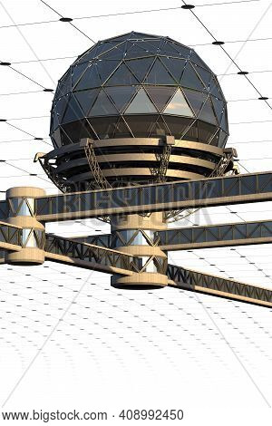 Futuristic City Architecture With A Geodesic Glass Structure Connected By Skywalk Bridges. The Clipp