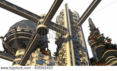 3d Rendering Of Futuristic Environmental Architecture With Building Terraces Covered In Vegetation,