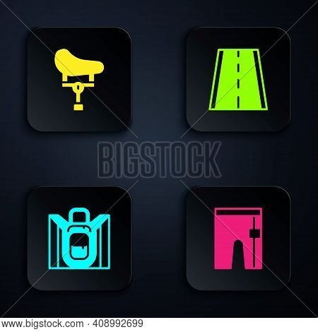 Set Cycling Shorts, Bicycle Seat, Hiking Backpack And Lane. Black Square Button. Vector