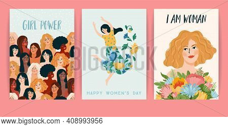 International Women S Day. Set Of Vector Templates With Women Different Nationalities And Cultures.