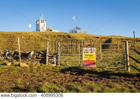 Danger Ministry Of Defence Firing Range Sign And Old Live Firing Watch Tower