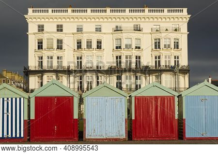 Beach Huts On Seafront Promenade At Hove, Brighton, East Sussex, England