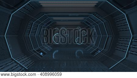 Front View Of The Interior Of A Dark Corridor Of A Spaceship In Blue Light With A Closed Door With C