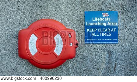 Kirkcudbright, Scotland - 28th December 2020: Rnli Lifeboat Launching Area, Keep Clear At All Times