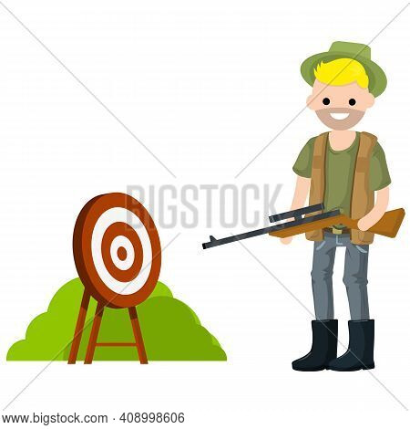 Man Hunter With Gun. Equipment For Hunting Animals. Guy With Rifle. Shooter And Weapon. Target For A