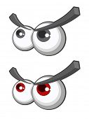 Vector set of cartoon eyes with eyebrows poster