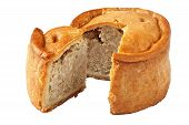 A traditional handmade pork pie traditionally called Melton Pies from the town of Melton Mowbray in the Midlands England poster