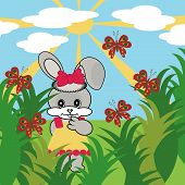 nice hare in grass in summer vector illustration poster