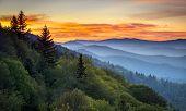 Great Smoky Mountains National Park Scenic Sunrise Landscape at Oconaluftee Overlook between Cherokee NC and Gatlinburg TN poster