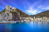 Monterosso al Mare fisherman village harbor rocks and sea bay landscape. Five lands Cinque Terre Liguria Italy Europe. Long Exposure Photography poster