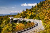 Blue Ridge Parkway Linn Cove Viaduct North Carolina Appalachian Landscape scenic travel photography in autumn poster