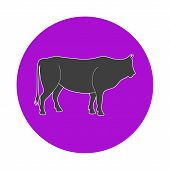 Illustration of the bull on a white background in a violet circle poster