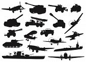 WW2 military silhouettes set. Vector. High detailed poster