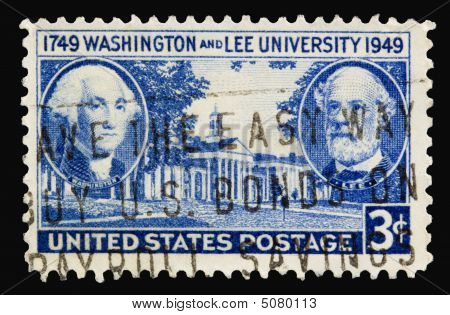 A 1949 issued 3 cent United States postage stamp showing Washington and Lee University. poster