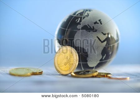Globe With Euro Coins
