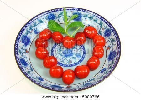 Cherries, Plate And Heart