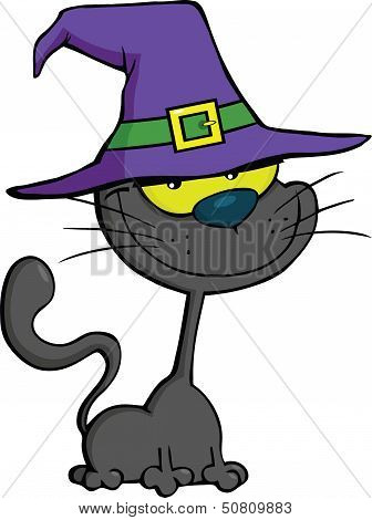 Smiling Cat With Witch Hat Cartoon Illustration poster