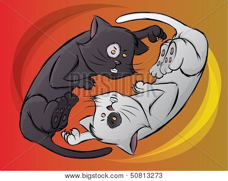 Fighting Cat Illustration