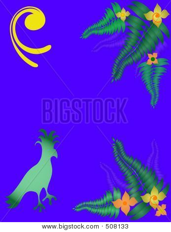 tropical bird,fers and flowers over a blue background. poster