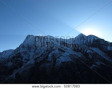 Last Sunbeams Over The Annapurna Range