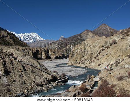 Marsyangdi River And Tilicho Peak