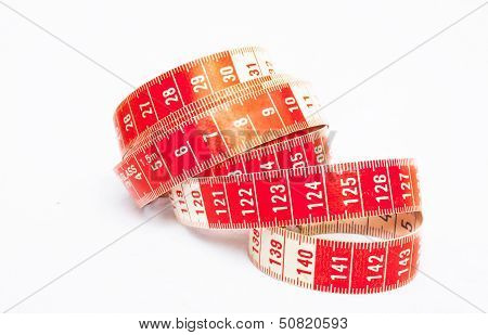 Single Red And White Tape Measure