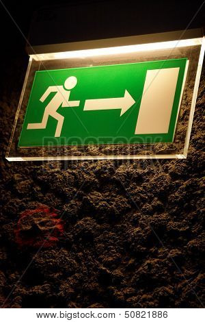 Lighted Emergency Exit Sign.