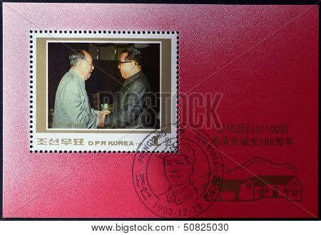 A Stamp Shows Comrade Kim Jong Il, Supreme Commander of the korean  with the president of China