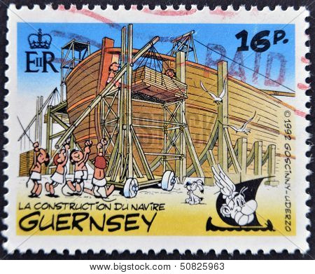 Stamp Shows Bullet In The Construction Of An Egyptian ship belonging to the comic Asterix and Obelix