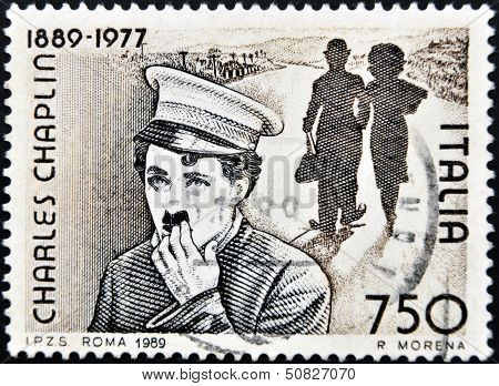 Italy - Circa 1989: Stamp Printed By Italy Celebrating 100 Years From The Birth Of Charles Chaplin