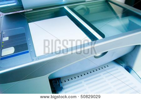 Close-up Working Printer Scanner Copier Device