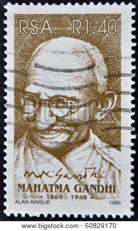 SOUTH AFRICAN - CIRCA 1995: A stamp printed in RSA shows Mahatma Gandhi