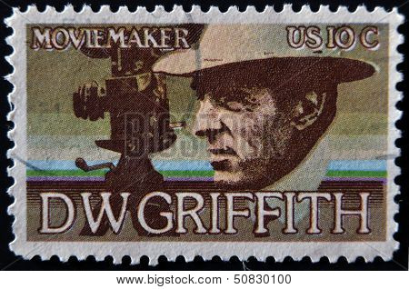 United States - Circa 1975: Stamp Printed In Usa Shows Dw Griffith, Circa 1975