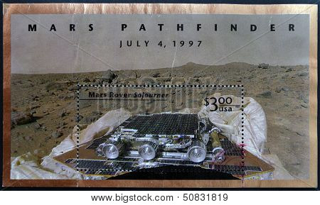 United States Of America - Circa 1997: A Stamp Printed In Usa Shows Mars Pathfinder, July 4